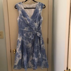 Calvin Klein blue and white floral dress size 10